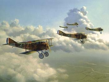 """SPAD fighters in World War I -- Art """"Flight of Aces"""" by James Laurier Air Force Art"""