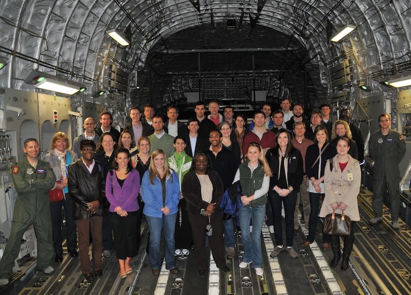 Thirty-six civic leaders from the Lowcountry pose for a group photo during a C-17 orientation flight March 10, at Joint Base Charleston - Air Base. The civic leaders are members of the 2011 Charleston Metro Chamber of Commerce Leadership Charleston program, which offers them the opportunity to explore and analyze issues that impact the Lowcountry region while focusing on leadership principles. (U.S. Air Force photo/ Airman 1st Class Jared Trimarchi)