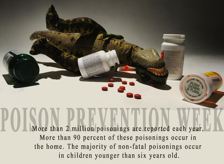 MOUNTAIN HOME AIR FORCE BASE, Idaho -- National Poison Prevention Week is March 20-26. The Idaho Department of Health and Welfare works with the Rocky Mountain Poison and Drug Center to provide poison and drug hotline information to more than 25,000 callers per year. To prevent at-home poisoning, be sure to store all medicines and household products in a locked closet or cabinet, including items with child-resistant containers. In case of accidental poisoning, Idaho residents can call the Idaho Poison Control Center number at 1-800-222-1222. (U.S. Air Force photo illustration by Airman 1st Class Renishia Richardson)