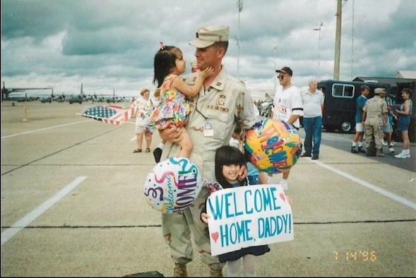 Then-Capt. Adam Dickerson at a homecoming celebration at Little Rock Air Force Base, summer 1996. (Courtesy Photo)