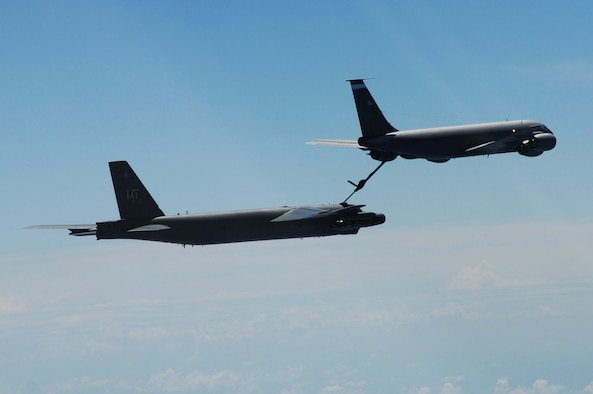 ANDERSEN AIR FORCE BASE, Guam- A B-52 Stratofortress from the 69th Expeditionary Bomb Squadron, Minot Air Force Base, N.D., connects for in-flight refueling with a KC-135 tanker during a training mission, March 15.(U.S. Air Force photo/ Senior Airman Carlin Leslie)