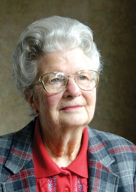 Louise Strom kept a file room organized and blueprints constantly checked in and out for a new bomber being built in a Washington Boeing hangar. Once the aircraft was built, she became a part of history watching the B-52 Stratofortress roll out of the hangar for its maiden flight in 1952. Her daughter, Gail Kulhavy, now works at Tinker in the 72nd Communications Directorate. (Air Force photos by Margo Wright)