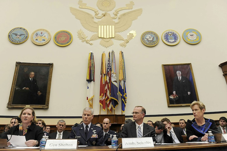 Air Force and Department of Defense leaders testify before the Strategic Forces Subcommittee of the House Armed Services Committee March 15, 2011, in Washington, D.C. (From left) Erin Conaton, the Under Secretary of the Air Force; Gen. William Shelton, the Air Force Space Command commander; Ambassador Gregory Schulte, the deputy secretary of defense for Space Policy; and Betty Sapp, the National Reconnaissance Office principal deputy director, briefed the subcommittee and answered questions regarding national security space activities associated with the Fiscal 2012 national defense authorization budget request. Rep. Mike Turner chaired the subcommittee. (U.S. Air Force photo/Scott M. Ash)