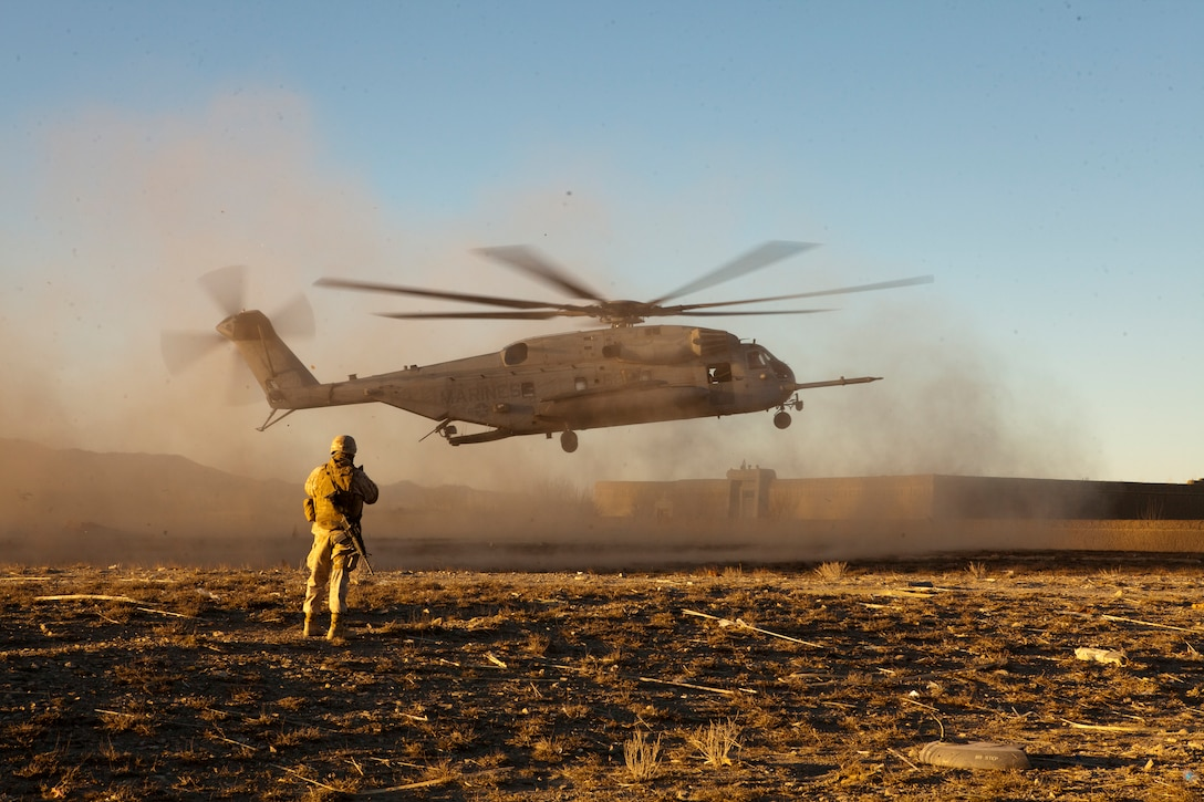 A CH-53E Super Stallion, with Marine Heavy Helicopter Squadron 461, takes off for a tactical recovery of aircraft and personnel mission, in eastern Afghanistan, March 20. The Marines involved with the mission were awarded commendatory medals for their extraordinary efforts.