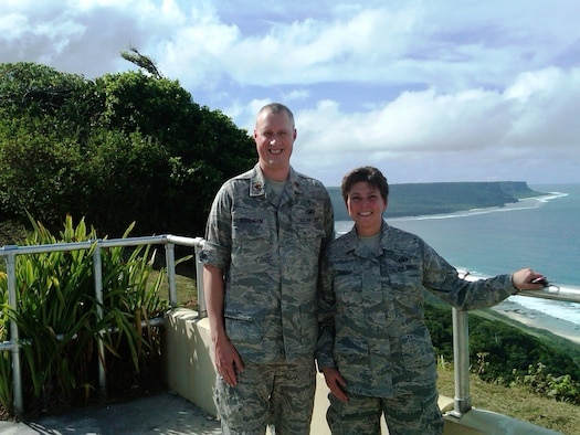 Deployed Religious Support Team members Chaplain, Maj. Brian Bohlman and Master Sgt. Kathleen Shasky pose for a photo at the scenic overlook here Jan. 4. Since January 2006, a total of 33 Air National Guard chaplains and 31 chaplain assistants have served as the deployed RST here.