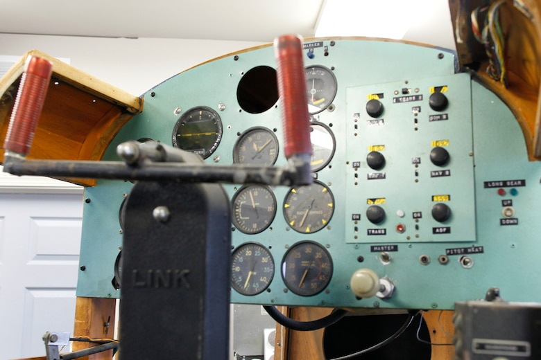 The control panel of a World War II-era Link Trainer is being restored for display at the Selfridge Military Air Museum, March 10, 2011. Museum volunteers are working on restoring the trainer, used extensively by the U.S. military in the 1930s-50s. (U.S. Air Force photo by MSgt. Terry Atwell)(RELEASED)