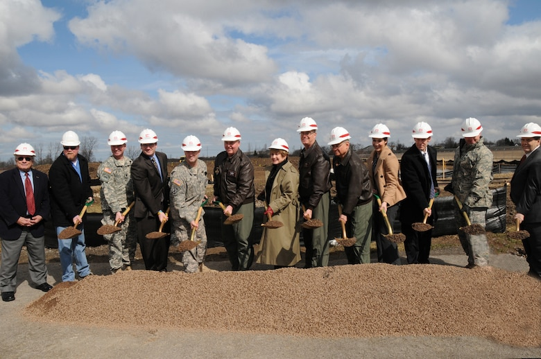 Dignitaries and VIPs gather for a ground breaking ceremony for the Small Arms  Range slated to be built at the Niagara Falls Air Reserve Station. Left to right: Mr William Ross, Niagara County Legislator., Mr Robert Burke Contractor, LtCol Michael Clancy-Army Corp of Engineers, Mr. Vince Sandonato,Representing Mark Grisanti, Capt James Birk, Buffalo MEPS, Col. Mark Murphy, 914th Airlift Wing, Congresswoman Louise Slaughter, Col. Jim McCready, 107th Airlift Wing Commander,  Major. Gen. James Kwiatkowski, New York Air Natioanl Guard Commander, Melissa Fratello, Representing Senator Gilliband, Mr. Walt Koch, Representing Brain Higgins, LtCol Gregory Ottoman, HQ AFRC/A7P, Mr. Merrell Lane, President, Niagara Military Affairs Council.(Air Force photo/SMSgt Ray Lloyd)