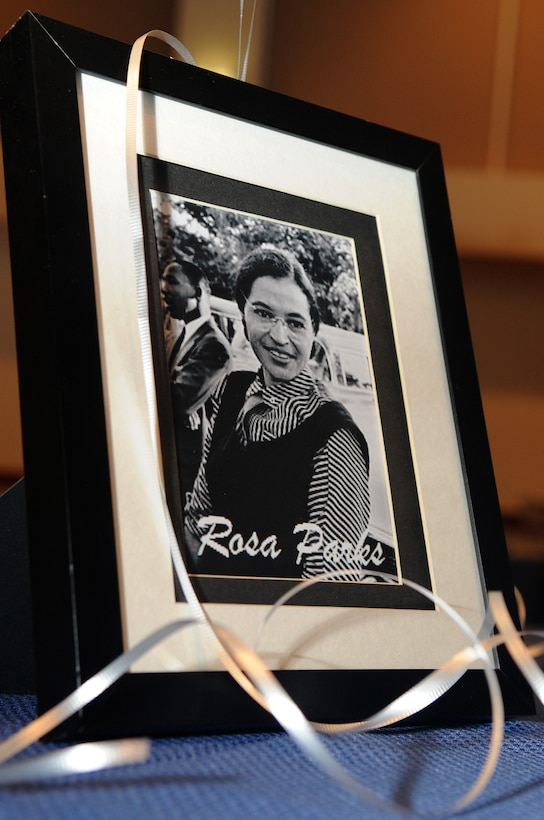 BUCKLEY AIR FORCE BASE, Colo.-- March is Women's History Month, each table during the Women's Women History luncheon was decorated with a framed photo of a influential woman in history. This years theme is Our History is Our Strength which pays tribute to the millions of women who have taken action to help create a better world for the times in which they lived, as well as for future generations. (U.S. Air Force photo by Airman Manisha Vasquez)