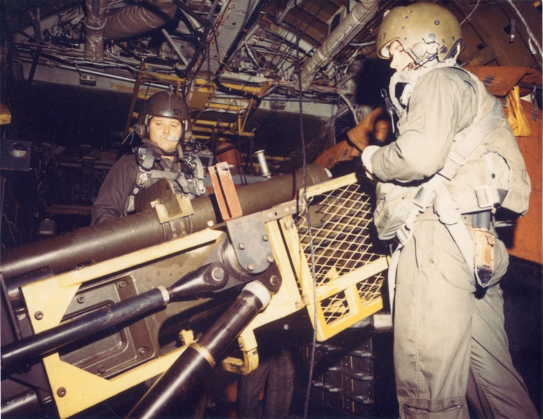 Master Sgt. Jacob Mercer (left) prepares to load a AC-130 Spectre 105mm howitzer. Mercer was one of the crewmembers killed on June 18, 1972. (U.S. Air Force photo)