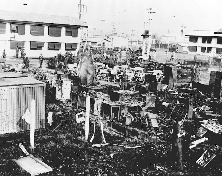 Communists destroyed buildings and aircraft at Tan Son Nhut Air Base. (U.S. Air Force photo)