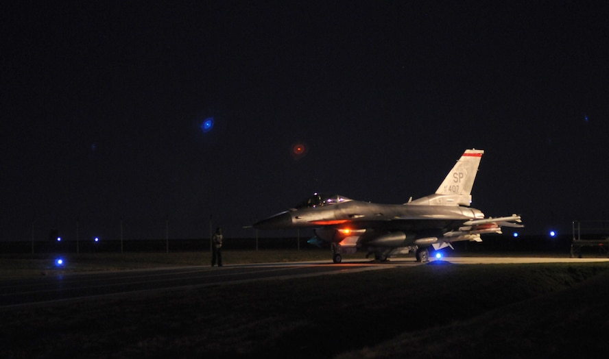 SPANGDAHLEM AIR BASE, Germany – An F-16 Fighting Falcon from the 480th Fighter Squadron prepares for take-off from Spangdahlem Air Base in support of Operation Odyssey Dawn March 19. Joint Task Force Odyssey Dawn is the U.S. Africa Command task force established to provide operational and tactical command and control of U.S. military forces supporting the international response to the unrest in Libya and enforcement of United Nations Security Council Resolution (UNSCR) 1973. UNSCR 1973 authorizes all necessary measures to protect civilians in Libya under threat of attack by Qadhafi regime forces.  JTF Odyssey Dawn is commanded by U.S. Navy Admiral Samuel J. Locklear, III. (U.S. Air Force photo/Senior Airman Nathanael Callon)