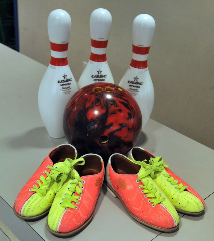 SEYMOUR JOHNSON AIR FORCE BASE, N.C. -- Bowlers at Planet Bowl can choose from 6 to 16 pound bowling balls and rent shoes, March 23, 2011. Planet Bowl also proposes a new bowler entertainment system offering different themes and displays more in-depth statistics including speed, average pins per lane and score. (U.S. Air Force photo/Senior Airman Whitney Lambert) (RELEASED)
