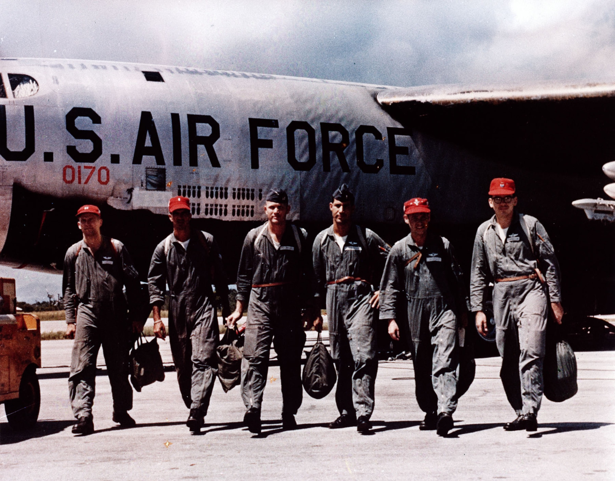 B-52 aircrew returning from an ARC LIGHT mission over Southeast Asia. Just as in earlier wars, the bombs painted on the fuselage showed the number of missions flown. (U.S. Air Force photo)