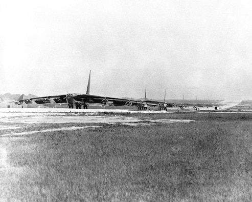B-52Ds from the Strategic Air Command line up for takeoff as they prepare for strikes over Hanoi and Haiphong, North Vietnam, during OPERATION LINEBACKER. (U.S. Air Force photo)