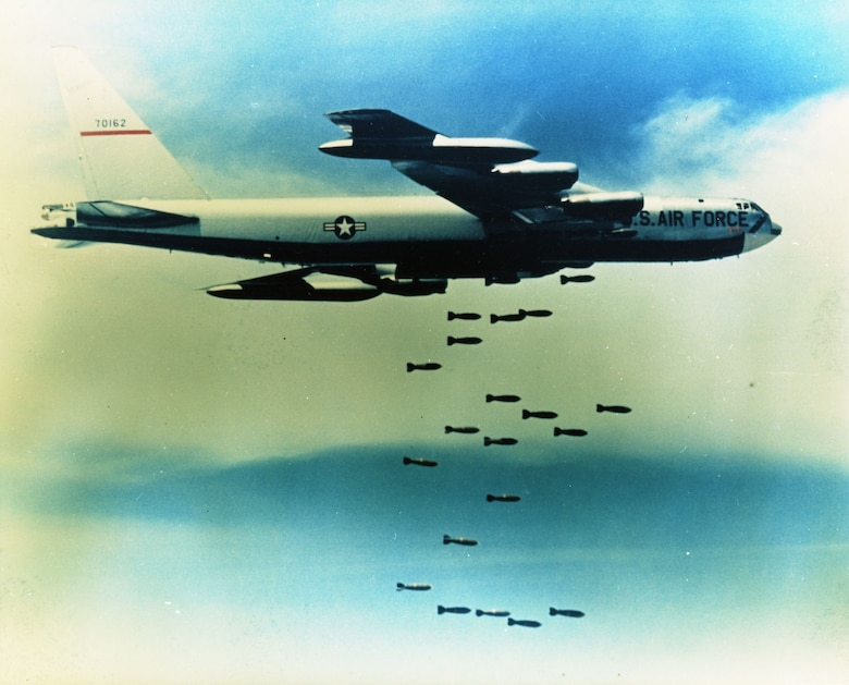 A B-52F dropping its bombs over Southeast Asia. (U.S. Air Force photo)