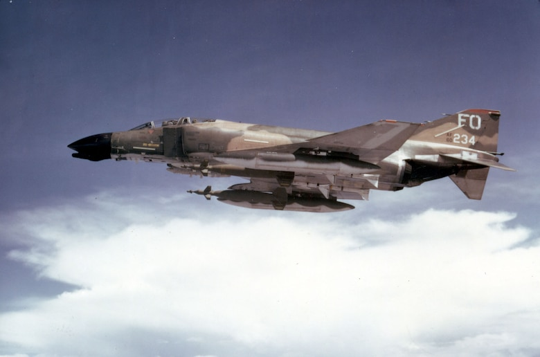 An F-4D from the 435th Tactical Fighter Squadron, 8th Tactical Fighter Wing, armed with two GBU-10s. (U.S. Air Force photo)