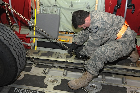 SPANGDAHLEM AIR BASE, Germany – A staff sergeant from the 52nd Logistics Readiness Squadron secures cargo inside a C-130J Super Hercules here in support of Operation Odyssey Dawn March 21. Joint Task Force Odyssey Dawn is the U.S. Africa Command task force established to provide operational and tactical command and control of U.S. military forces supporting the international response to the unrest in Libya and enforcement of United Nations Security Council Resolution (UNSCR) 1973. UNSCR 1973 authorizes all necessary measures to protect civilians in Libya under threat of attack by Qadhafi regime forces.  JTF Odyssey Dawn is commanded by U.S. Navy Admiral Samuel J. Locklear, III. (U.S. Air Force photo/Airman 1st Class Matthew B. Fredericks)