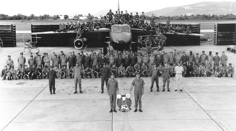 Personnel of the 42nd Tactical Electronic Warfare Squadron at Takhli in 1970. Aircrew are on the ground and maintenance personnel are on the aircraft. (U.S. Air Force photo)