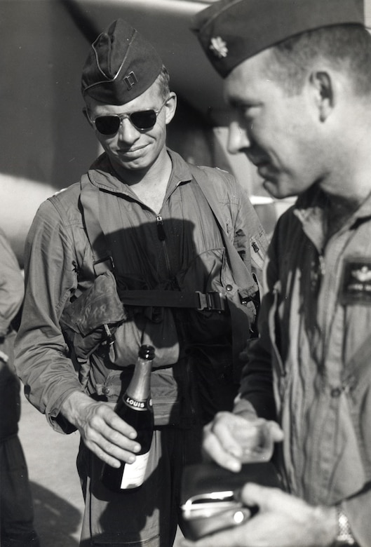 Unarmed EB-66s were vulnerable to enemy MiGs, who specifically targeted them. Pictured here are B-66 pilot Maj. Kibby Taylor (right) and navigator Capt. Jack McGinn. Their aircraft was attacked by two MiGs on a mission in November 1966. They narrowly escaped, and their fighter escort shot down both of the MiGs. (U.S. Air Force photo)