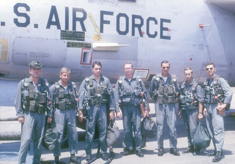 RB-66C crew at Takhli in early 1966 (the RB-66C was later designated the EB-66C). The typical RB-66C crew consisted of the pilot/aircraft commander, navigator, flight engineer, and four electronic warfare officers (EWOs). (U.S. Air Force photo)