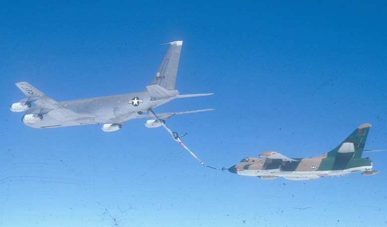 EB-66 being refueled in mid-air. The short probe on the EB-66's nose fit into the KC-135's hose basket. (U.S. Air Force photo)
