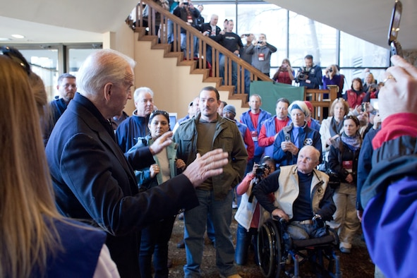 Vice President Joe Biden greets volunteers during registration for the 25th annual National Disabled Veterans Winter Sports Clinic March 27, 2011, in Snowmass Village, Colo. The program, which brings together nearly 400 veterans with disabilities through adaptive winter sports, is organized by the Veterans Affairs Department and the Disabled American Veterans. (White House photo)