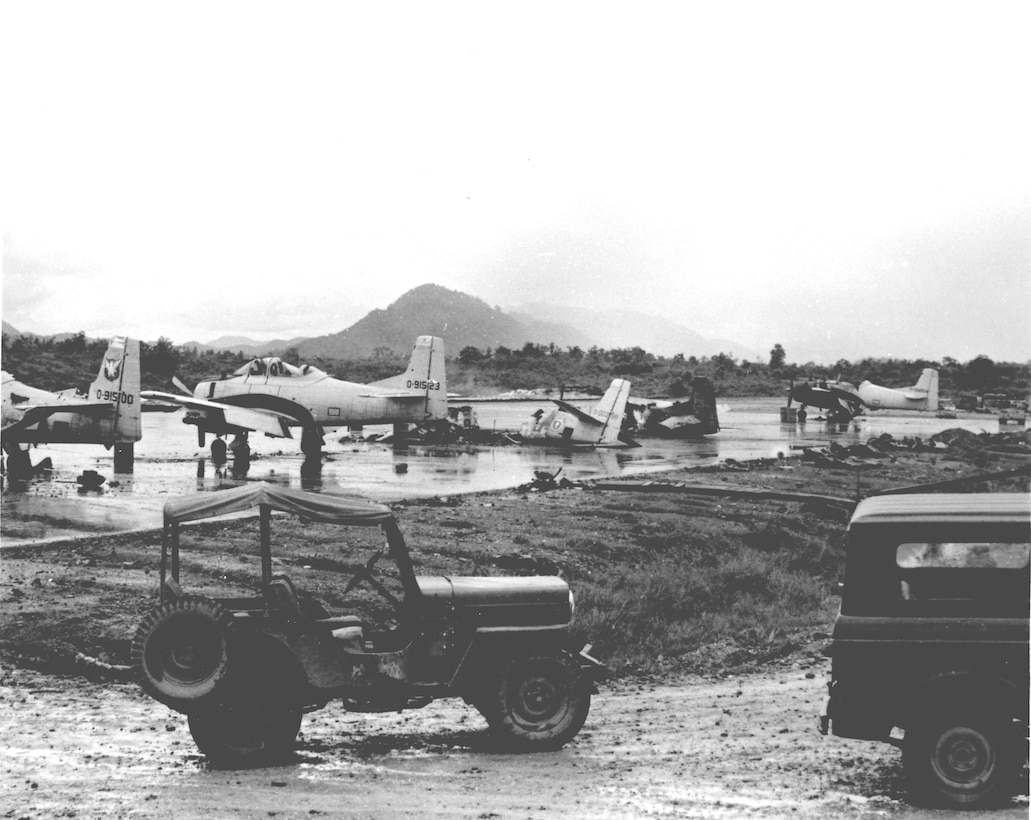 Damage caused by a communist ground attack on Luang Prabang airfield, Laos, 1967. (U.S. Air Force photo).