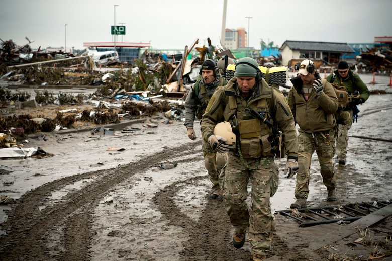 Members of the 320th Special Tactics Squadron arrive at Sendai Airport March 16 and begin to assess the damage and what they can do to help. (U.S. Air Force photo/Staff Sgt. Samuel Morse)
