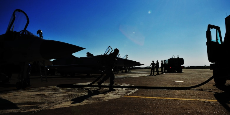 Senior Airman Kevin Kloss, of the 39th Logistics Readiness Squadron, finishes refueling Qatari aircraft in support of Operation Odyssey Dawn March 25, 2011, at Incirlik Air Base, Turkey.  Joint Task Force Odyssey Dawn is the U.S. Africa Command task force established to provide operational and tactical command and control of U.S. military forces supporting the international response to the unrest in Libya and enforcement of United Nations Security Council Resolution 1973. UNSCR 1973 authorized all necessary measures to protect civilians in Libya under threat of attack by Qadhafi regime forces. JTF Odyssey Dawn is commanded by U.S. Navy Admiral Samuel J. Locklear, III. (U.S. Air Force photo by Staff Sgt. Alexandre Montes)