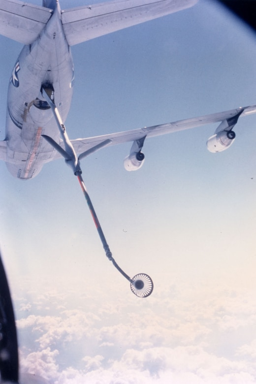 A pilot's-eye view of the KC-135's refueling station. Stratotankers could use either the boom by itself, or the hose-and-drogue attachment, seen here. The ability to use either method allowed USAF tankers to service aircraft from all services. Navy and Marine aircraft had probes, while the USAF used both probes and boom receptacles. (U.S. Air Force photo)