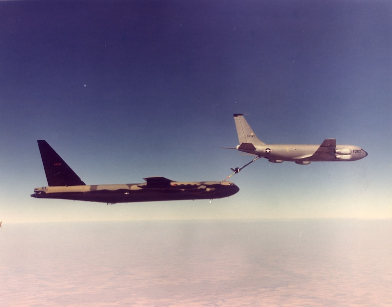 Even long-range bombers like the B-52 needed refueling to reach their targets and return to base on far-off Guam. Bombing operations such as ARC LIGHT and LINEBACKER depended heavily on air refueling. (U.S. Air Force photo)