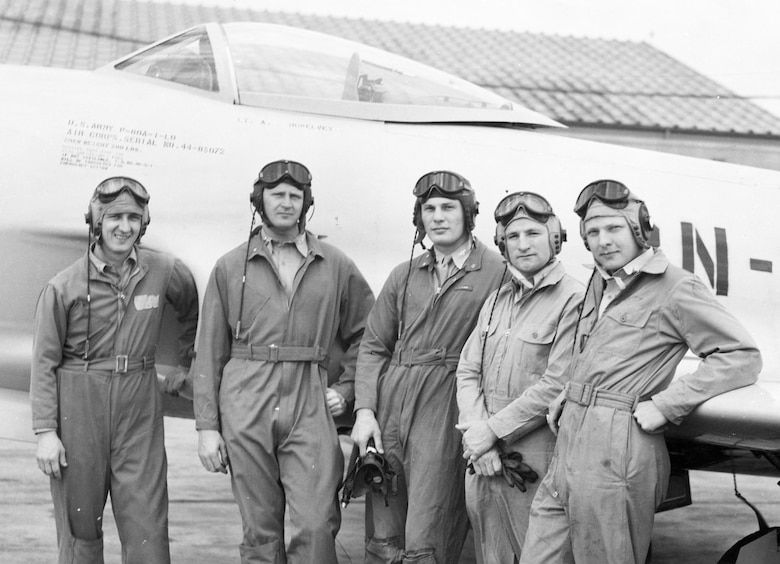 Robin Olds (middle) with other members of the P-80 demonstration team in 1946. (U.S. Air Force photo)