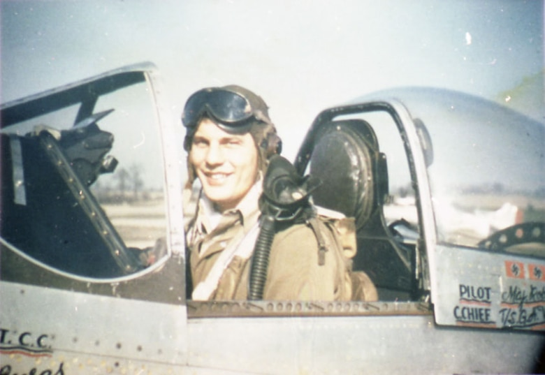 Maj. Robin Olds, 434th Fighter Squadron commander, in the cockpit of one of his P-51Ds. (U.S. Air Force photo)