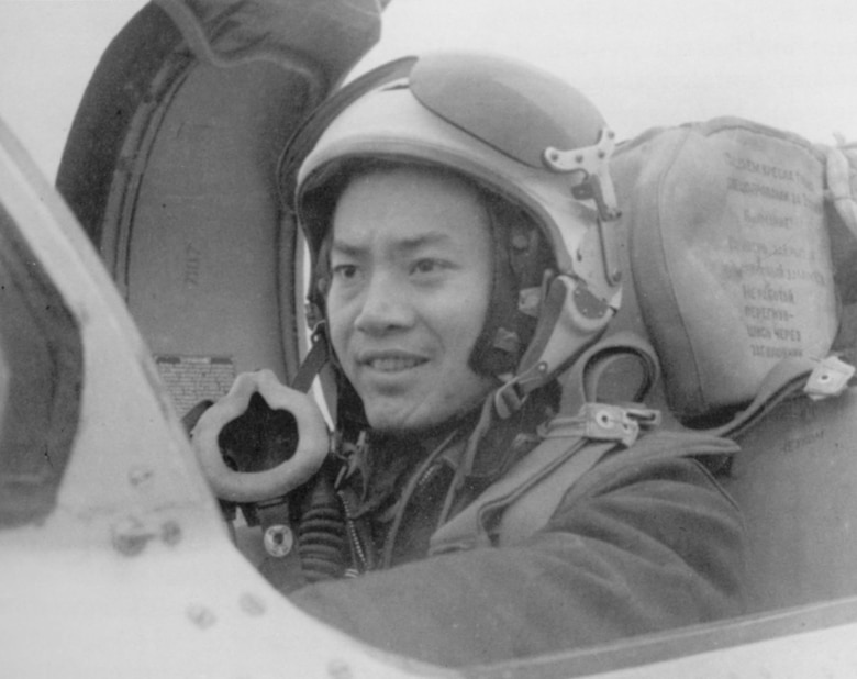 This Soviet-made helmet was the type used by most North Vietnamese MiG-21 pilots during the Southeast Asia War. (U.S. Air Force photo)