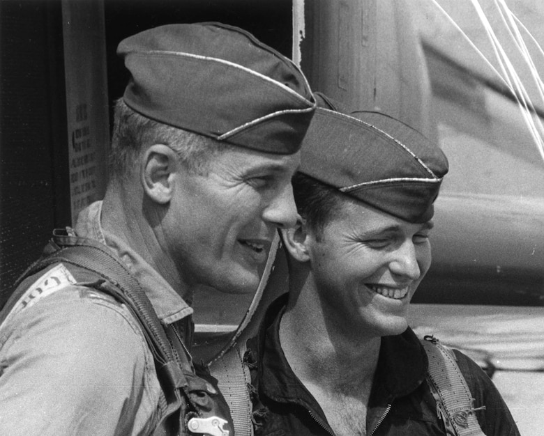 Col. Robin Olds (left) and Capt. John Stone after OPERATION BOLO. Three other 8th Tactical Fighter Wing officers, 1st Lt. Joseph Hicks, 1st Lt. Ralph Wetterhahn and Maj. James Covington, also worked on planning the mission details. (U.S. Air Force photo)