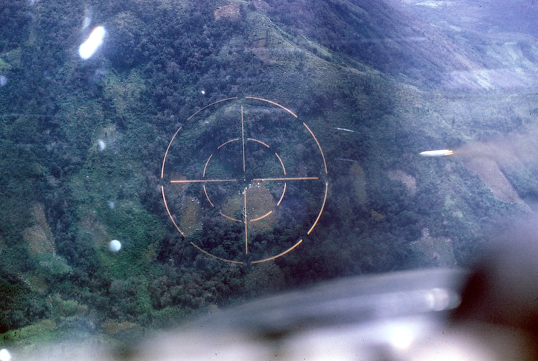 Pilot's view of marking a target with white phosphorus rockets. U.S. Air Force FACs found and marked targets on the Ho Chi Minh Trail. (U.S. Air Force photo).