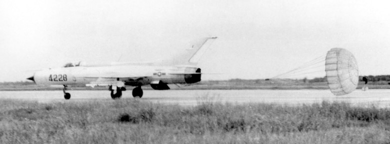 VPAF MiG-21 deploying its braking chute while landing after a mission. (U.S. Air Force photo)