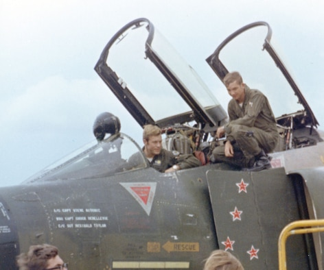 """Capts. Richard """"Steve"""" Ritchie (left) and Charles """"Chuck"""" DeBellevue after a mission. Ritchie and DeBellevue scored four of their MiG victories while flying together. (U.S. Air Force photo)"""