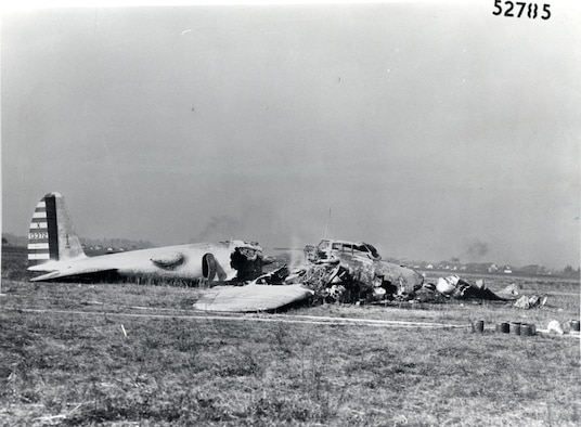 Remains of the XB-17 (Model 299) following its crash due to an attempted takeoff with locked elevator controls. (U.S. Air Force photo)