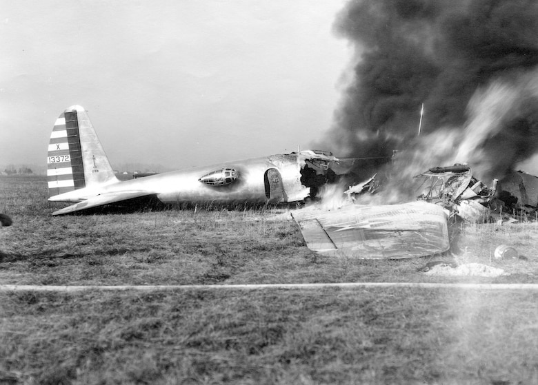 The Boeing 299 on fire after its crash at Wright Field on Oct. 30, 1935. The crash site was less than one mile east from the location of the National Museum of the United States Air Force. (U.S. Air Force photo)