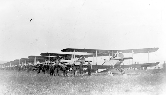 Planes of the 135th Aero Squadron line up on Aug. 7, 1918, for the first mission flown over the Front by U.S.-built DH-4s. (U.S. Air Force photo)