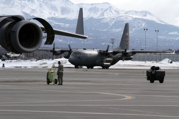 A C-130 Hercules from the Tennessee Air National Guard taxis at Joint base Elmendorf-Richardson, March 24.  (U.S. Air National Guard photo/Staff Sgt. Karima Turner)