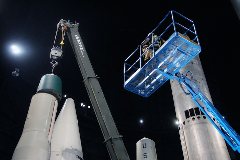 DAYTON, Ohio (03/2011) -- Restoration crews install the Minuteman IA missile in the Missile & Space Gallery at the National Museum of the U.S. Air Force. (U.S. Air Force photo)