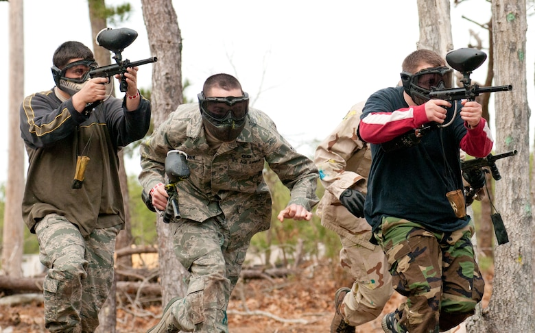 Members of the Intelligence Group competed against all other wing agencies in a paintball tournament as part the of the new Commanders Cup program.