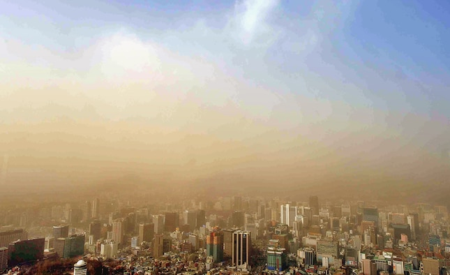 KUNSAN AIR BASE, Republic of Korea -- Pictured here is a weather phenomenon, called HwangSa, and is also referred to as Yellow Sand or Asian Dust. (Courtesy photo/A Korean News Agency)