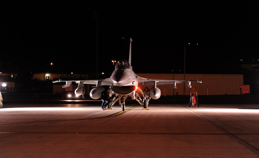 SPANGDAHLEM AIR BASE, Germany – An F-16 Fighting Falcon from the 480th Fighter Squadron is prepared for takeoff here May 2 prior to departing for the unit's Air Expeditionary Force deployment. The 480th FS deployed to Iraq in support of Operation New Dawn as part of the unit's AEF cycle. (U.S. Air Force photo/Senior Airman Nathanael Callon)
