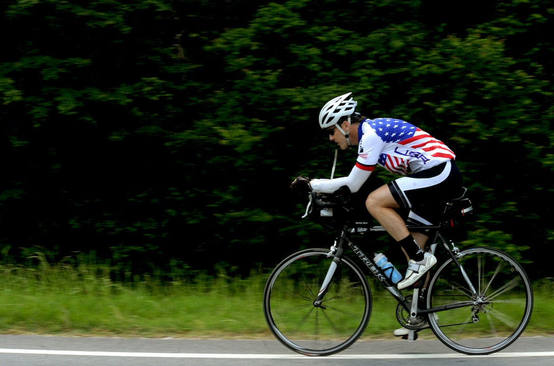 HAHIRA, Ga. -- Jason Rogers, Air Force veteran, rides his bicycle through Hahira, Ga., May 2. Mr. Rogers rode his bicycle 2,500 miles across the United States to raise money for the Wounded Warrior Project. (U.S. Air Force photo/Airman 1st Class Jarrod Grammel)(RELEASED)
