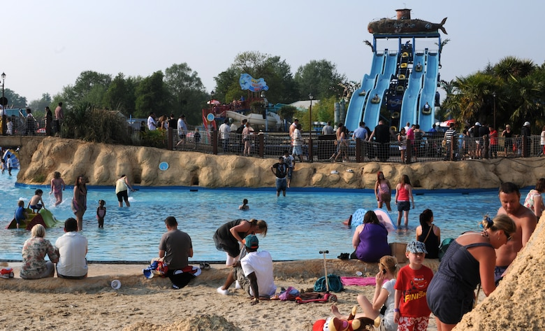 """CHERTSEY, England - """"Neptune's Beach"""" is one of the many family friendly attractions offered at Thorpe Park.  Liberty Warriors in an RAF Lakenheath Information, Tickets and Travel trip visited Thorpe Park on April 24, 2011.  The RAF Lakenheath ITT offers trips and guided walking tours to destinations throughout the United Kingdom. (U.S. Air Force photo/Airman Cory Payne)"""