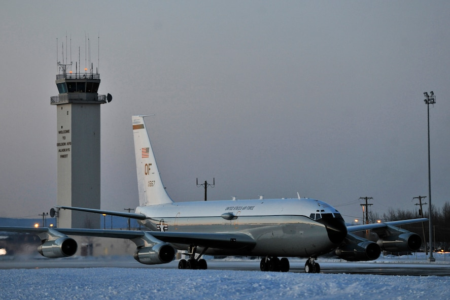 EIELSON AIR FORCE BASE, Alaska -- A WC-135 Constant Phoenix from the 45th Reconnaissance Squadron taxis in on the flightline here after a mission supporting Operation Tomodachi. The WC-135 is an atmospheric collection aircraft that was tasked with collecting air samples in international airspace over the Pacific as part of the disaster relief effort in response to Japan?s March 11 earthquake and tsunami. The Constant Phoenix team was in Alaska for nearly six weeks. (Air Force photo by Staff Sgt. Christopher Boitz)
