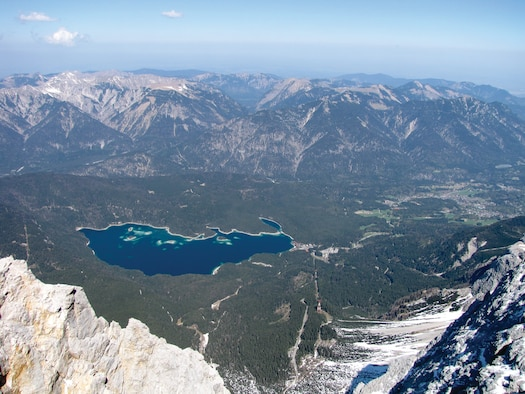 The view from the Zugspitze summit in Germany. You can reach the Zugspitze summit by a combination of train and cable car or by taking one cable car ride to the top.  (U.S. Air Force photo/Tech. Sgt. Ryan Kruse)